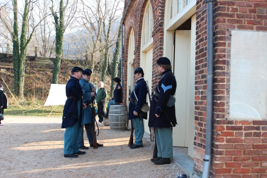 Civil War soldiers outside the building which became known as John Brown's Fort.