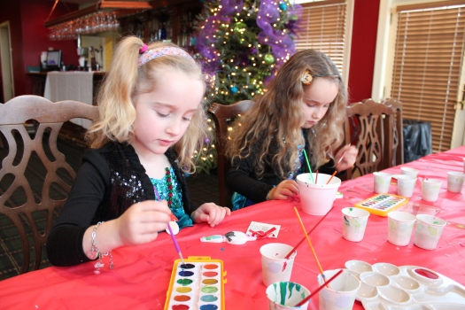 Hard at work making more ornaments.