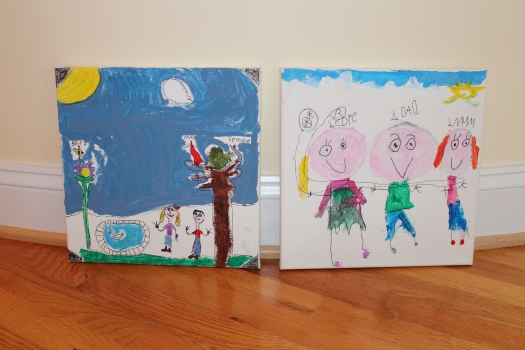 Olive and Edie painted canvases for Richard to take to work and hang in his office.