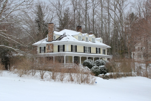 Many beautiful snow covered homes to admire.
