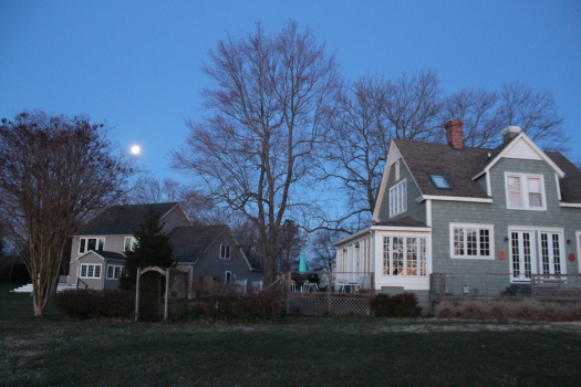 The River House-on the right. Richard took this photo early on Friday morning before heading out for his run. Such a beautiful moon.
