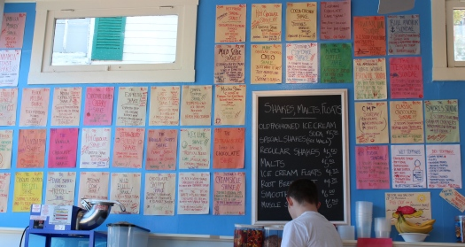 Oooodles of choices in Justine's ice cream parlour.