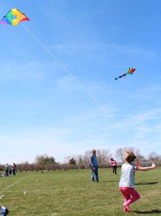 Edie looking quite the professional kite handler.