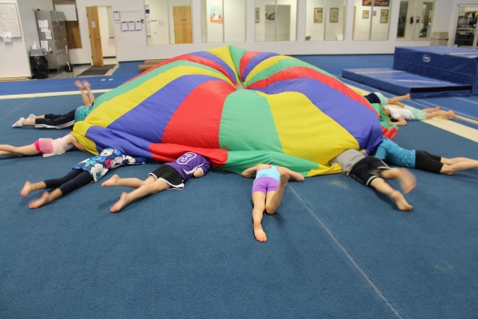 Diving under the parachute.