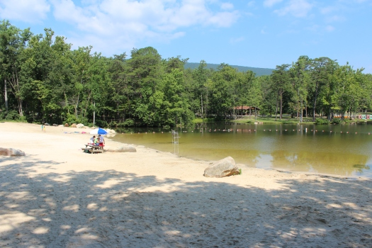 The lakefront at Cacapon State Park.