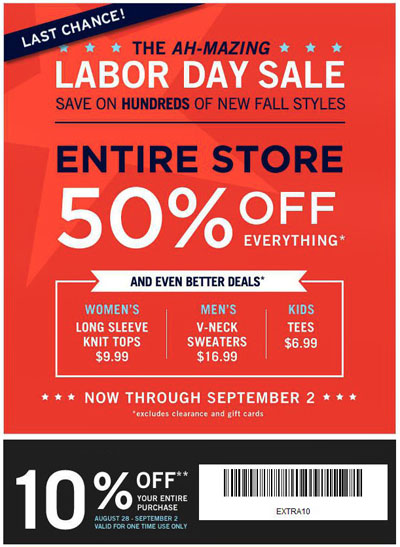 GAP's Labor Day enticement.