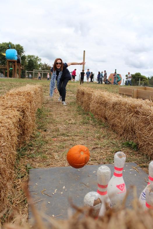 Pumpkin bowler in action.