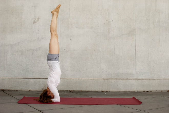 "Ok so it's not me but I did a classical headstand this morning! When I started yoga I'd look at people doing headstands and say to myself ""I'll never be able to do that!"". Today I am eating my words!!"