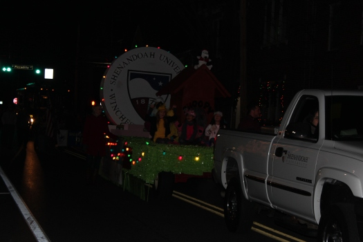 Here they come! Shenandoah Conservatory Arts Academy float.