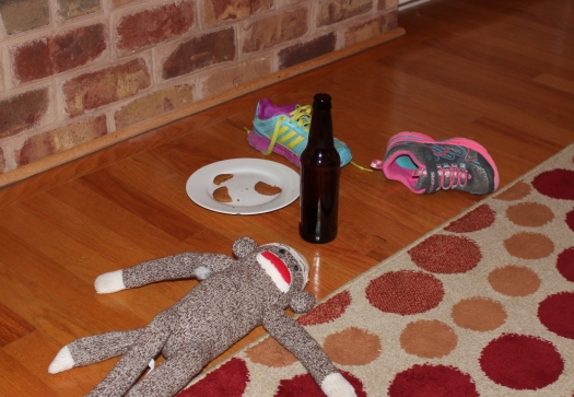 Empty shoes, half eaten cookies, beer all gone, carrots vanished and a sock monkey? Did he interrupt the visitors??