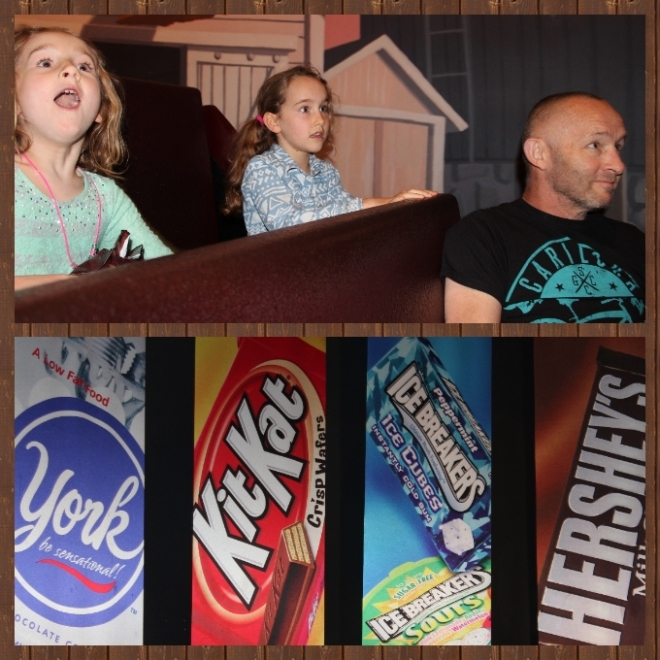 Then we took a ride into the world of Hershey chocolate...girls loving it...Richard suitably unimpressed!