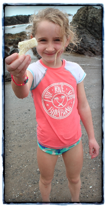 The girls had lots of fun finding interestingly shaped coral on the island.