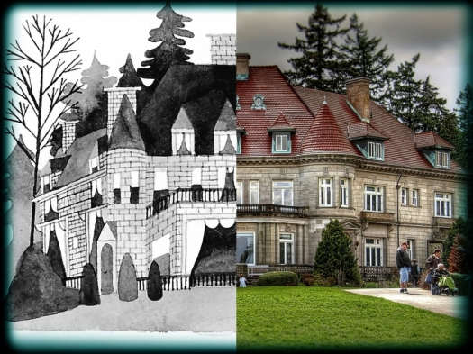 Carson Ellis' rendition of Pittock Mansion juxtaposed with the real thing.